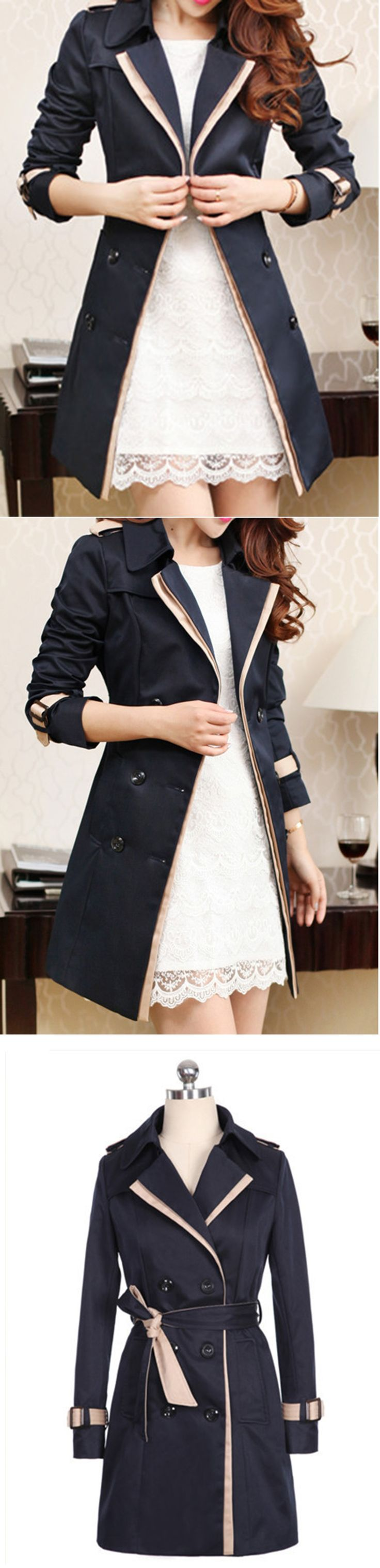 Women's Casual Long Sleeve Double Breasted Trench Coat