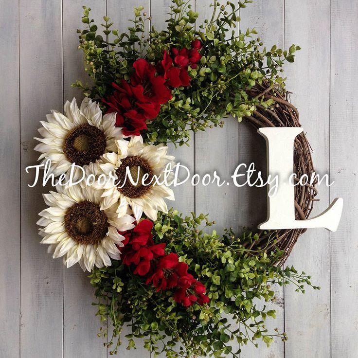 Sunflower Wreath - Red Wisteria Wreath - Winter Wreath For Front Door - Christmas Wreath - Outdoor Wreath by TheDoorNextDoor on Etsy https://www.etsy.com/listing/244367308/sunflower-wreath-red-wisteria-wreath