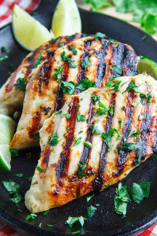 Cilantro Lime Grilled Chicken - boneless skinless chicken breasts, lime juice & zest (can sub lime juice), oil, fresh cilantro, garlic clove, jalapeno (optional), salt & pepper