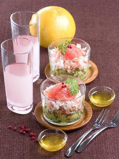 Recette Verrines de crabe au pamplemousse, notre recette Verrines de crabe au pamplemousse - aufeminin.com