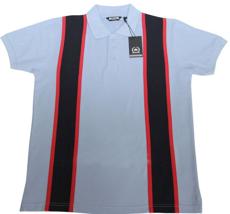 60s Style Pique Polo Shirt Sky Mod Northern Soul High quality Cotton