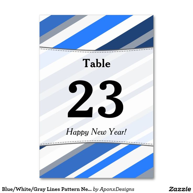 Blue/White/Gray Lines Pattern New Year Table Card