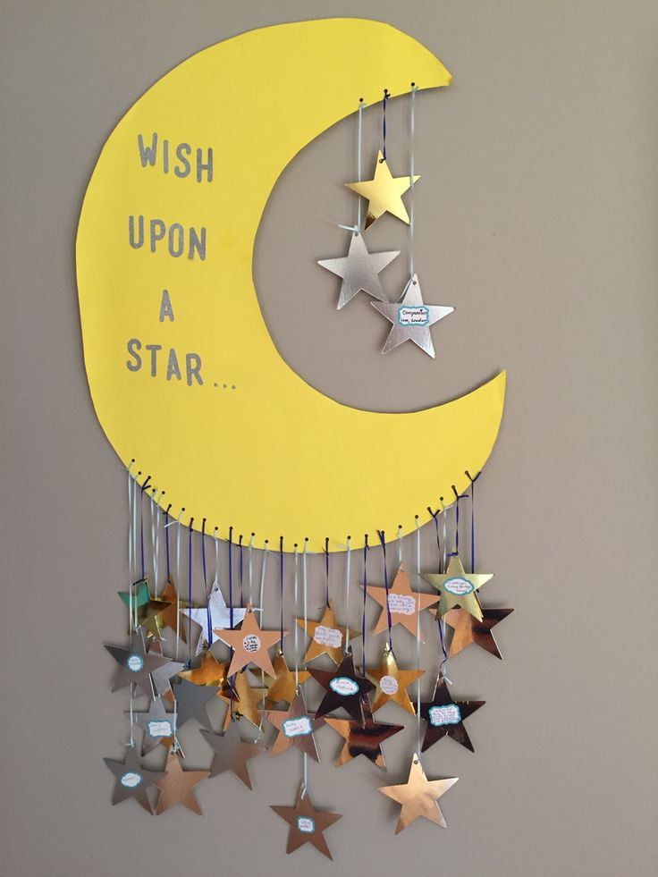 Star ~ Moon ~ Sun themed baby shower! Wish Upon a Star board - write a wish for the baby and stick it on a star!