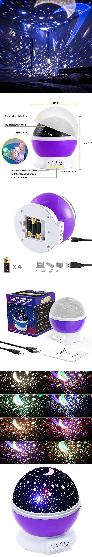 Led night light kickstarter - Lizber Baby Night Lighting Lamp Moon Star Projector 360 Degree Rotation 4 Led Bulbs 9