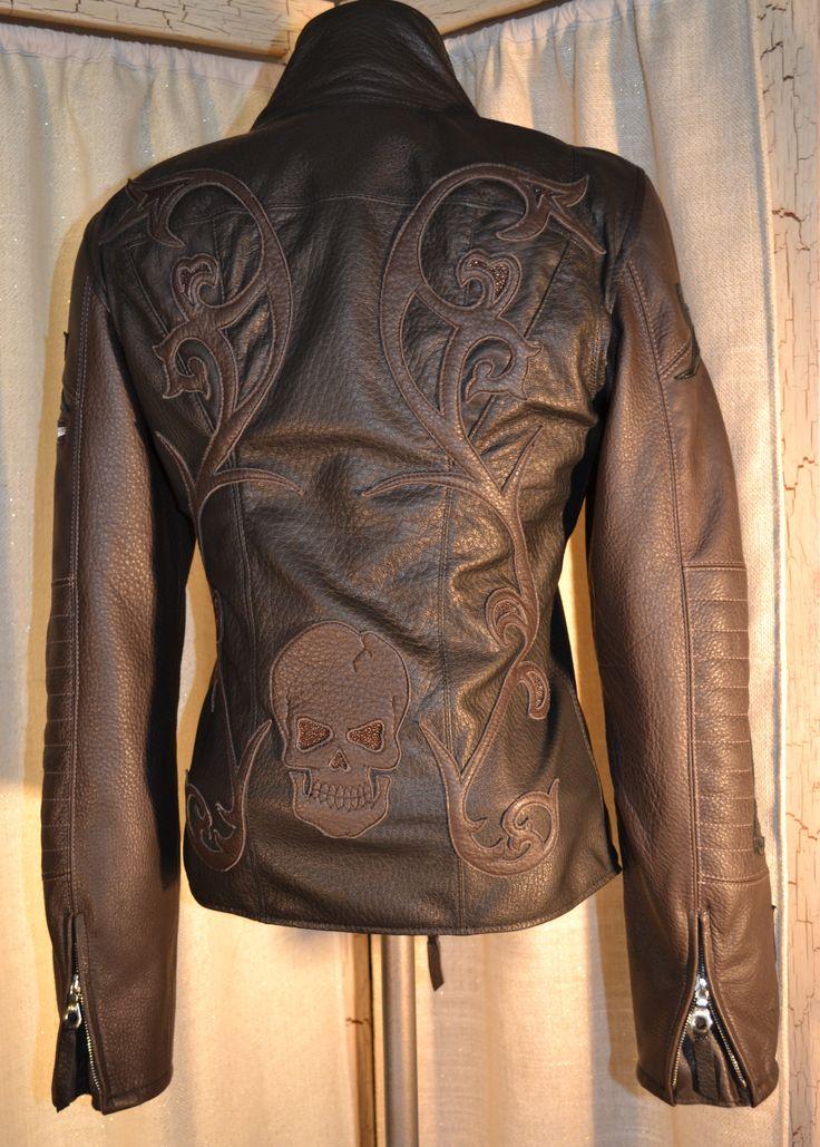 Logan Riese Leather jacket with skull women's biker jacket