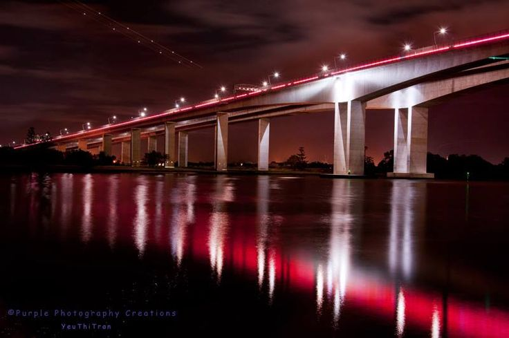©Yeu Thi Tran Brisbane Gateway Bridge or Sir Leo Hielscher Bridges also in Maroons this week.. https://www.facebook.com/pages/Purple-Photography-Creations/148743085221883