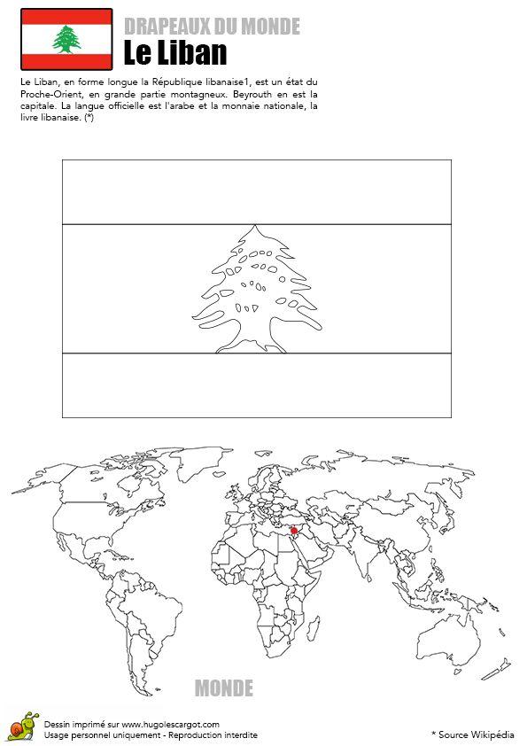 Le drapeau du Liban et la carte du monde, à colorier