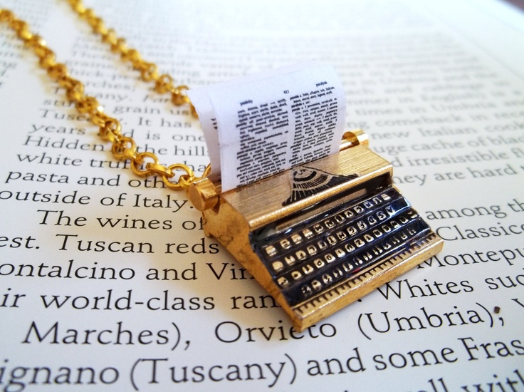 Special Listing For Miss Claire   The Poet Necklace. Gold plated Brass Miniature Vintage Type Writer. $20.00, via Etsy.