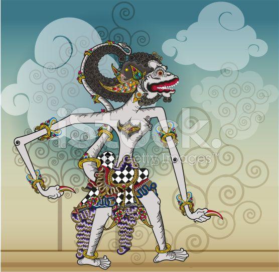 Puppet characters Hanuman the white monkey royalty-free stock vector art
