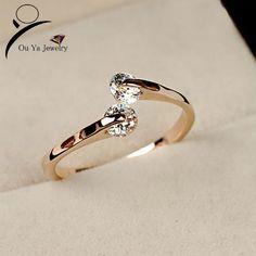 2014 nova moda CZ diamante anéis de casamento do dedo 18 K banhado a ouro Cubic Zircon / Crystal Engagement / festa jóias ForWomen atacado