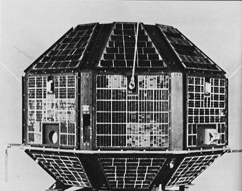 """""""Aryabhata satellite, the first satellite constructed by India. The satellite was constructed by the Indian Space Research Organisation and launched by the Soviet Union in 1975."""""""