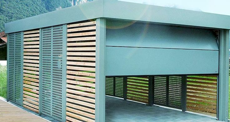 carport mit sektionaltor carport einhausungen eingangs berdachung m lltonnenbox garage. Black Bedroom Furniture Sets. Home Design Ideas