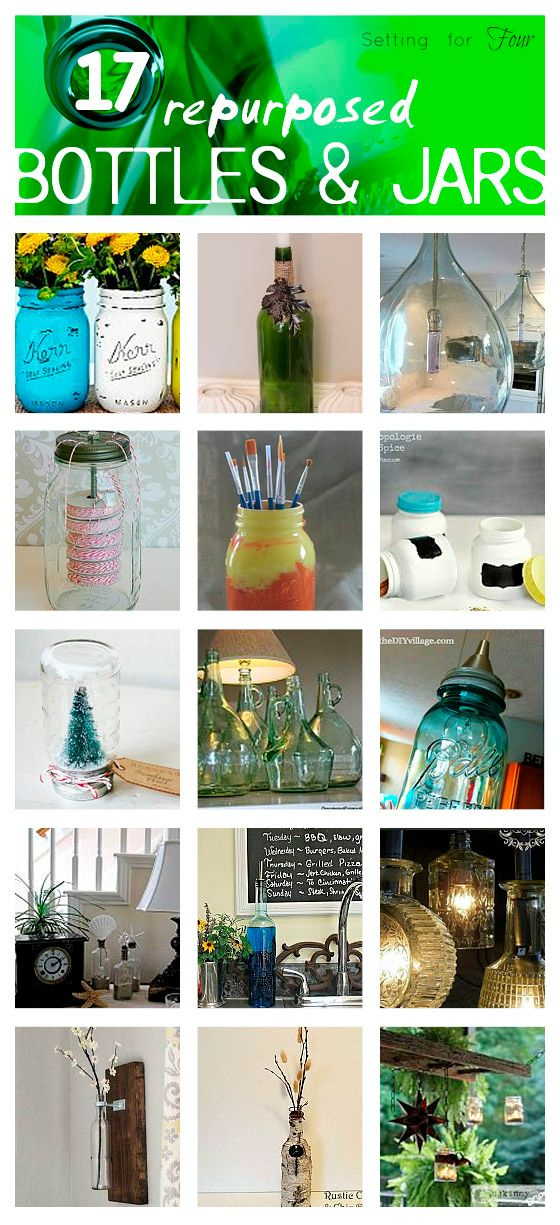 Don't throw out your leftover jars and bottles! Repurpose and upcycle them! Make these 17 GORGEOUS DIY projects for your home using Repurposed Bottles and Jars! Use them to create DIY decor projects, organization projects and storage ideas too! Get all of these great ideas at Setting for Four