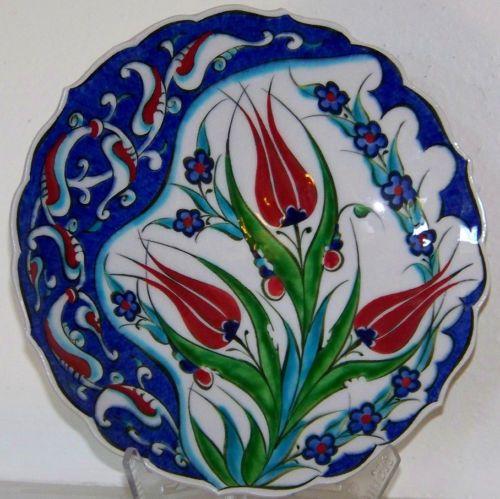 "3 Red Tulip Blue Daisy Turkish Ottoman 7"" Handmade Iznik Ceramic Plate | eBay"