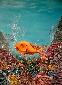 Imaginary Realism, Painting, fantasy, imagination, fish, underwater, deep, sea, ocean, water, corals, bubbles, reefs, sea life, sea bed, bottom, floor, colorful, turquoise, blue, art, artwork, fine art, oil painting
