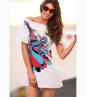 Maxi camiseta mujer manga corta estampada