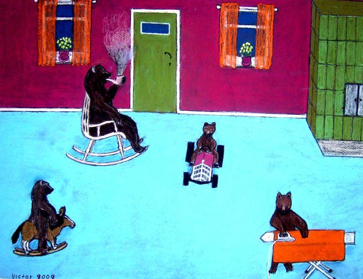 I björnarnas vardagsrum, pastell på papper. In the bears' living room, pastel on paper.