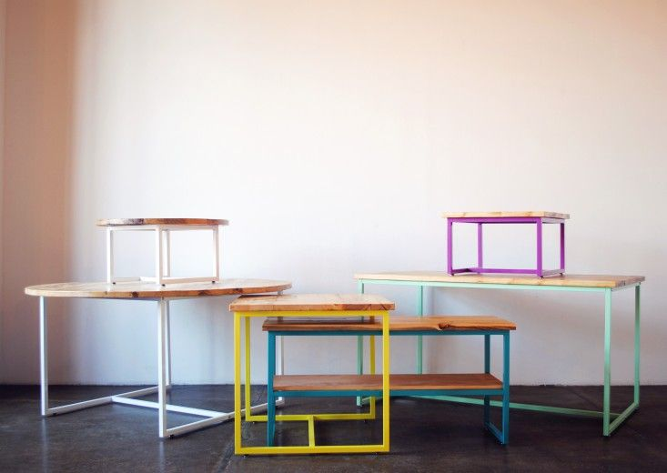 Gatsby colored metal tables by SAW Home (SAWhomeBK etsy shop w/ store in Brooklyn), white oak top w/ powder-coated steel base
