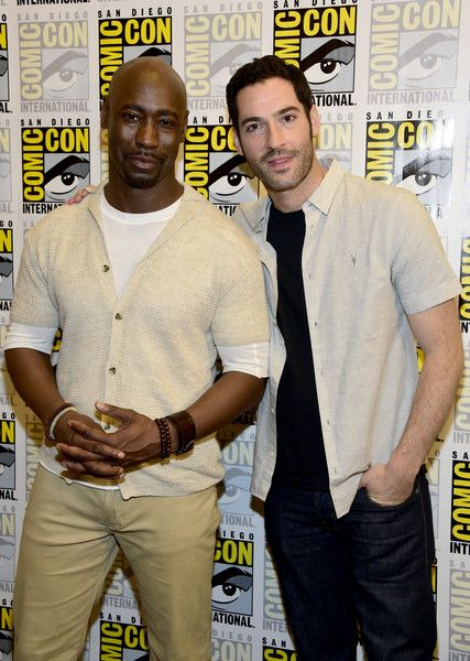 "Tom Ellis Photos - (L-R) Actors D.B. Woodside and Tom Ellis attends the ""Lucifer"" Press Line during Comic-Con International 2016 at Hilton Bayfront on July 23, 2016 in San Diego, California. - Comic-Con International 2016 - 'Lucifer' Press Line"