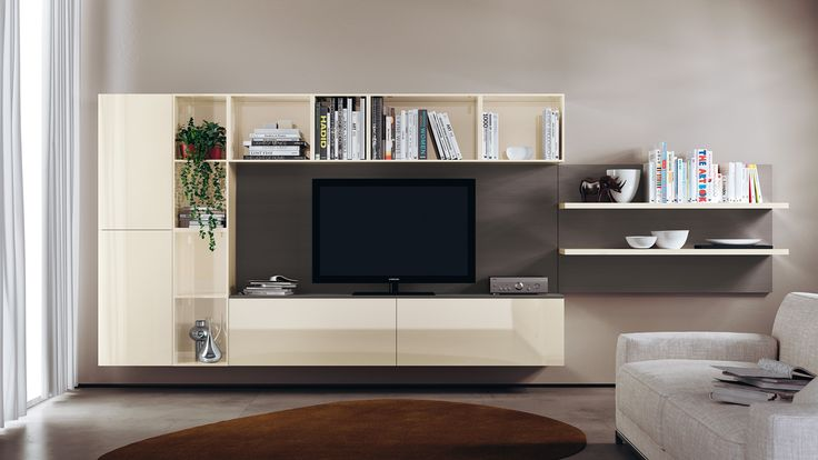 Open wall units and bookshelves for a more complex living area solution