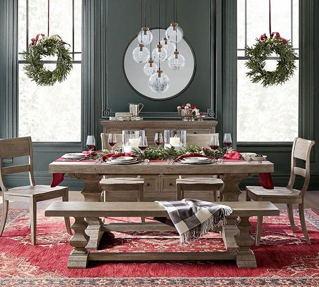 Gather Around The Banks Extending Dining Table All Season Long Mypotterybarn Potterybarn Interiord Christmas Dining Table Decor Dining Table Decor