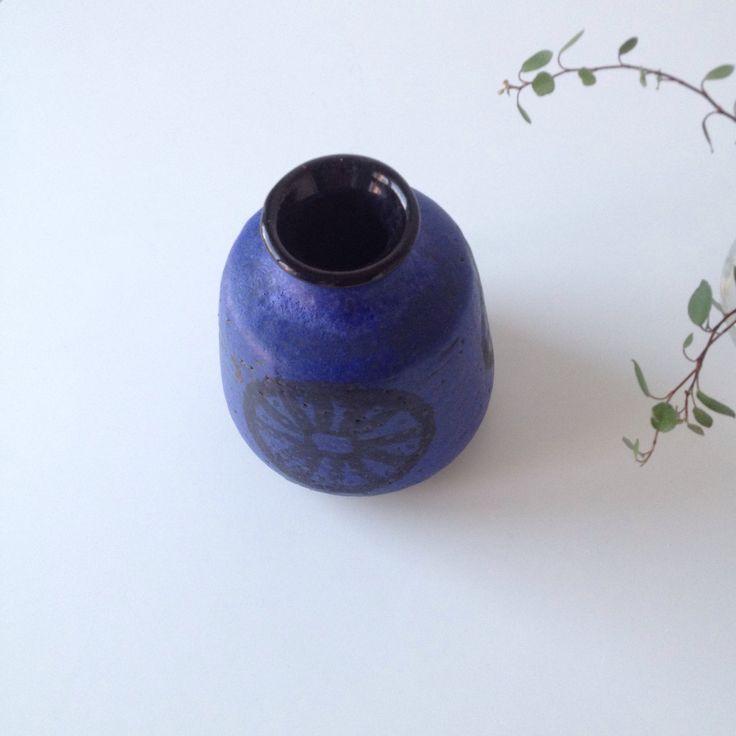 Norwegian pottery vase from Graverens, black decor on blue base. Vintage pottery. by ReOSL on Etsy