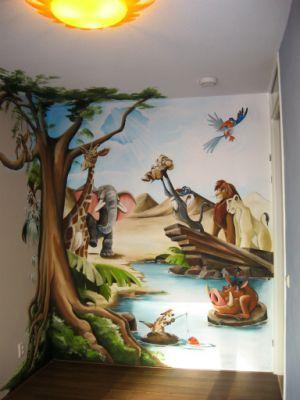 Lion king voor de babykamer! 11 uur schilderen.