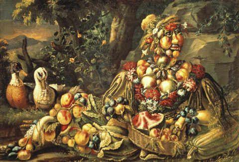 """Giuseppe Arcimboldo*1527+1593, Schule. """"Der Sommer"""". Aus einer Serie der Vier Jahreszeiten. Öl auf Leinwand, 100 x 140 cm. Kunsttechnik: Öl auf Leinwand Suchbegriffe: Allegorie, Arcimboldo, Botanik, Frau, Frucht, Fruchte, Fruechte, Früchte, gemuese, gemuse, gemüse, giuseppe, jahreszeit, jahreszeiten, malerei, morte, nature, obst, pflaume, sommer, stilleben, stillleben, vogel, zoologie"""