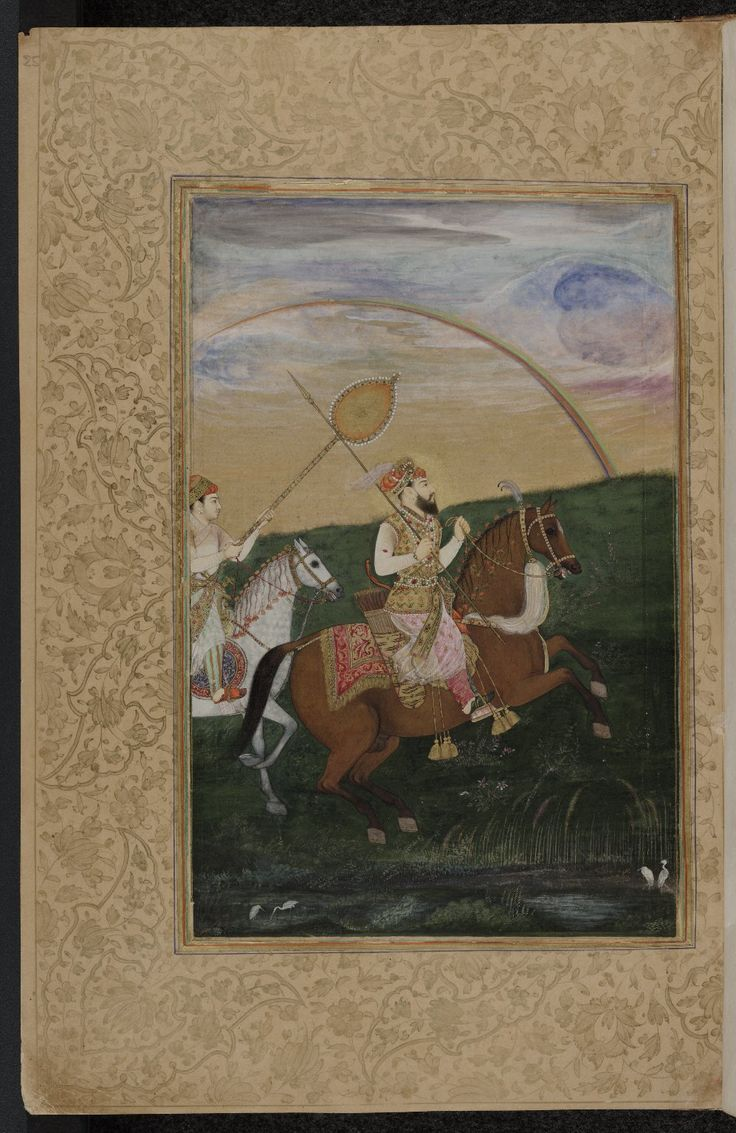 Shah Jahan riding, with the Aftabi or sunshade held over his head