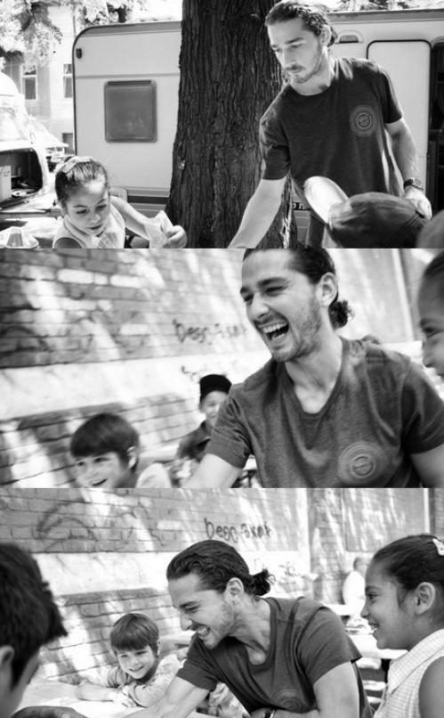 Oh haaai Shia Lebouf with long hair doing charity work.