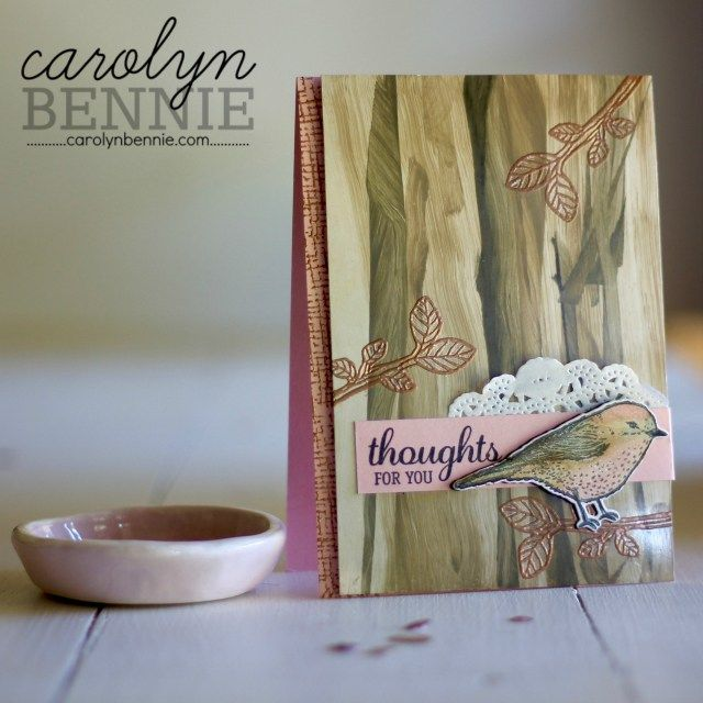 Stampin' Up! Glossy White Cardstock, faux wood grain technique with Best Birds stamp set. Full Youtube tutorial on my blog carolynbennie.com