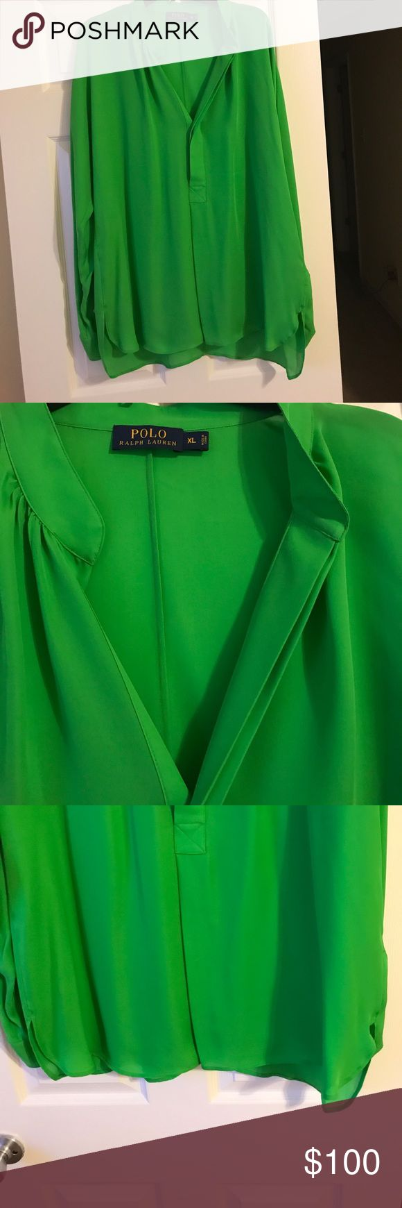 Polo Ralph Lauren blouse, new, bright green Polo Ralph Lauren blouse, new, Color is bright green. Very pretty blouse. Polo by Ralph Lauren Tops Blouses
