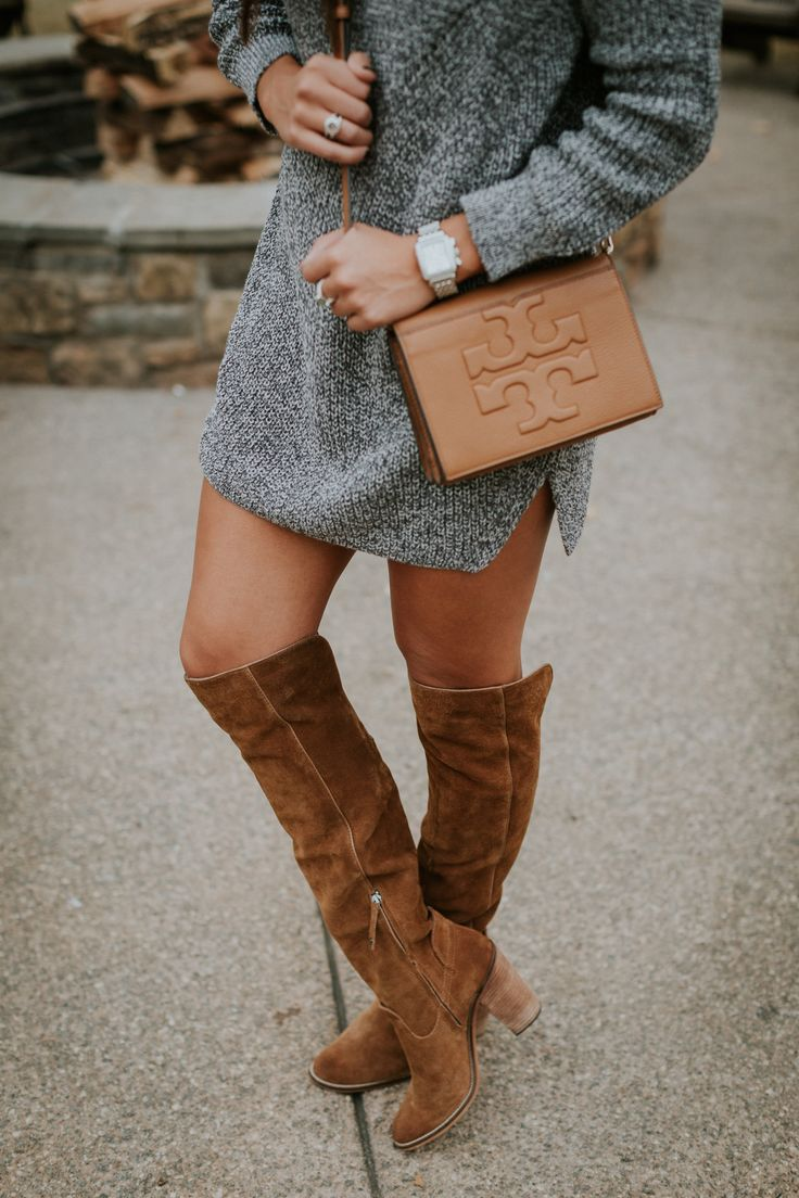 funnel neck sweater dress, over the knee boots, cognac over the knee boots, dolce vita over the knee boots, vince camuto over the knee boots, tory burch crossbody bag, winter lipsticks, fall lipsticks, celine sunglasses, winter style, cute winter outfit, casual winter outfit // grace wainwright a southern drawl
