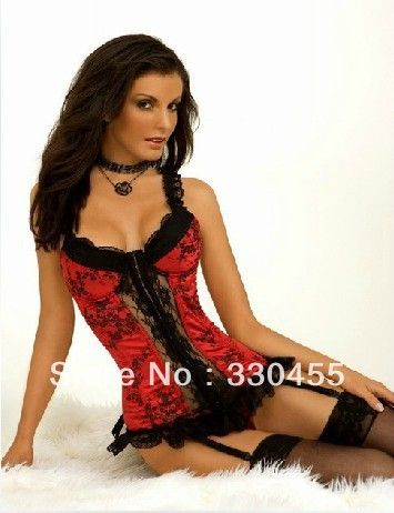 Wholesale Hot Sexy Women/Girl's Fashion Court  Lace Up Back Corset Sets Bustier Lingerie/G-string Outfit C80053 S-XXL