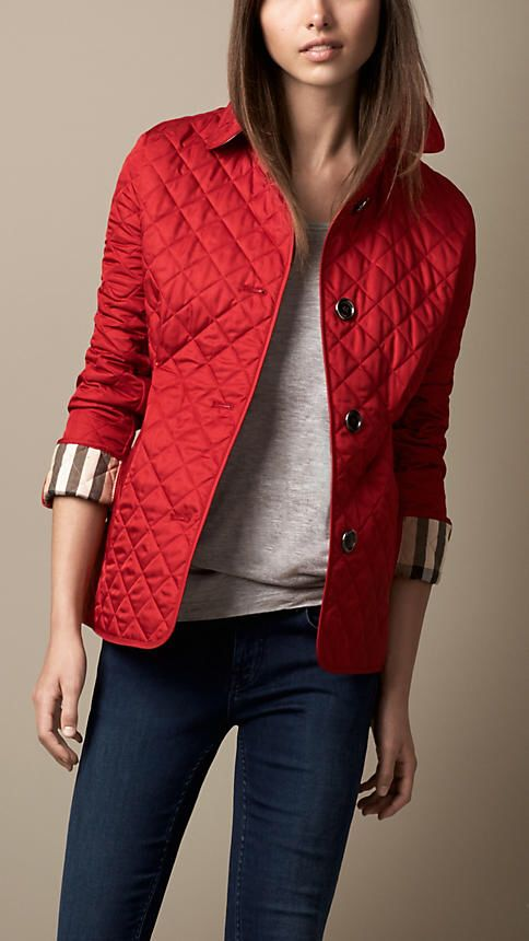 Burberry Red Quilted Jacket... Oh yessss please!