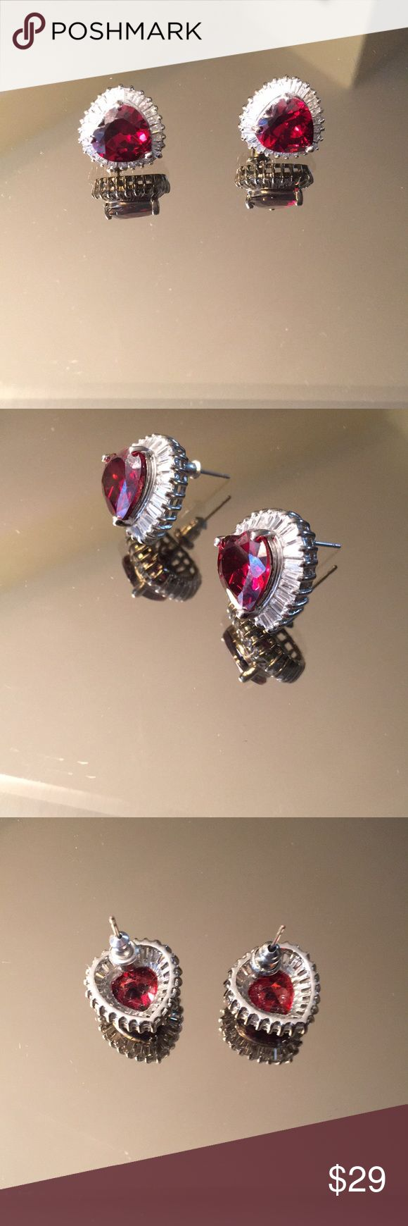 🦋LOVELY PIERCED EARRINGS LOVELY HEART SHAPED PIERCED EARRINGS.  STUNNING STYLISH AND ALWAYS ON TREND.   CUBIC ZIRCONIA AND RED HEART SHAPED STONE   PURCHASED AT NEIMAN MARCUS Jewelry Earrings
