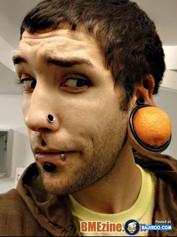weird bad ugly strange ear piercings people pics images ...