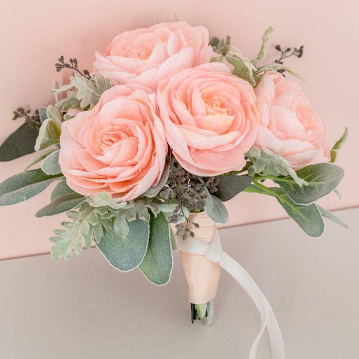 Ruffled | Blush Paper Peony Bouquet