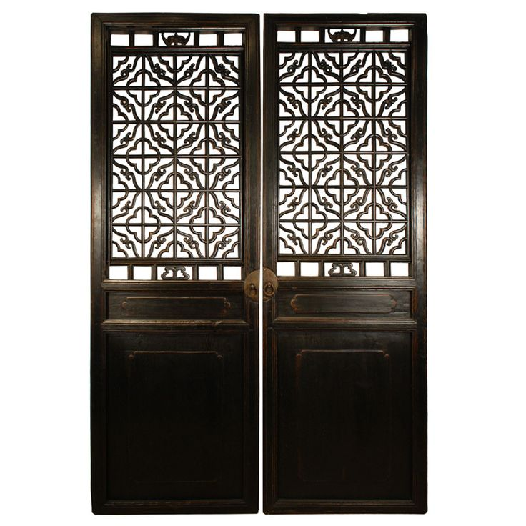 Exquisite Wall Coverings From China: Pair Of 19th Century Chinese Courtyard Door Panels