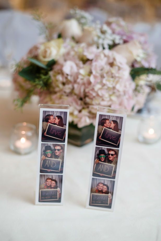 Adorable idea! Use photobooth snapshots to thank your wedding guests