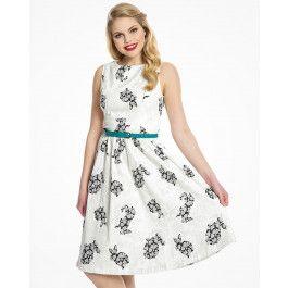 'Audrey' White Floral Rabbit Print Swing Dress