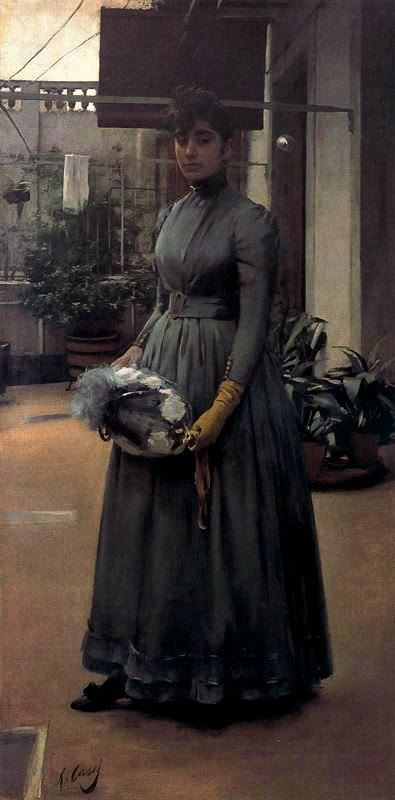 Elisa, la hermana del pintor Casas en el patio de la casa familiar del Carrer Nou de Sant Francesc en Barcelona, Ramon Casas i Carbó (1866-1932).