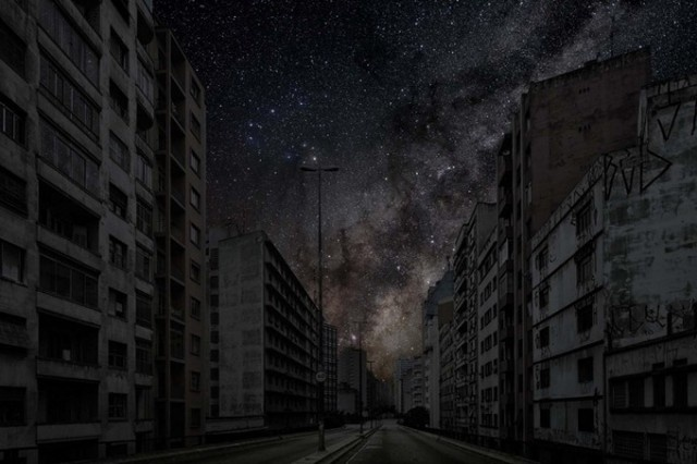 """#PLACE Thierry Cohen - Darkened Cities - São Paulo 23° 32' 09'' S 2011-06-07 lst 11:52"""", courtesy Galerie Esther Woerdehoff"""