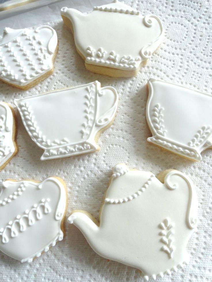 Elegant all white tea pot sugar cookies