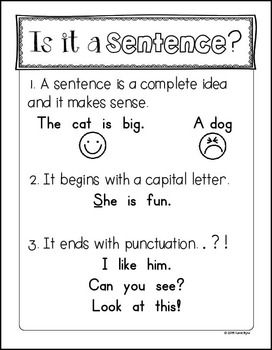 This is a FREE mini anchor chart to help you teach your students the most simple guidelines for what makes a sentence. This is made for young students, so it just covers the basics for a complete sentence. It is also the perfect compliment to my 6-Pack!