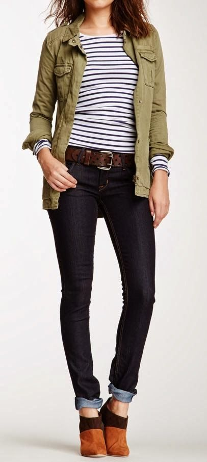 Stripes With Khaki Jacket and Skinny Jeans