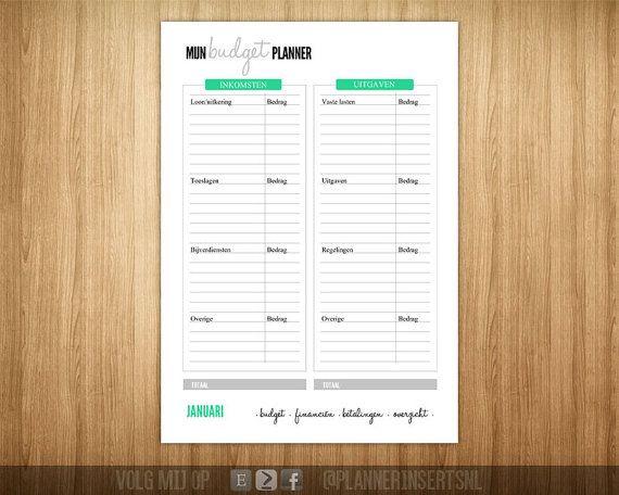 Agenda-/Plannervulling, inserts.  - Budgetplanner - Om zelf uit te printen - A5 formaat - 1 RAR bestanden - Aanpassingen mogelijk tegen een