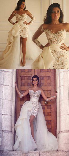 2017 wedding dress, long wedding dress with detachable train, white lace wedding dress