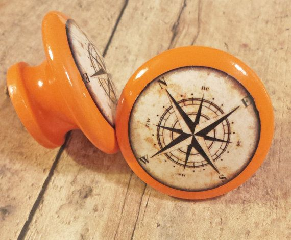 """Handmade Nautical Knobs, Fun Bright Orange Drawer Pulls, Antique Style Compass Cabinet Pull Handles, 1.5"""" Sea Dresser Knobs, Made To Order"""