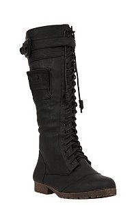 Yoki - Nancy Black Lace-Up Boot (Medium Width) | Boots